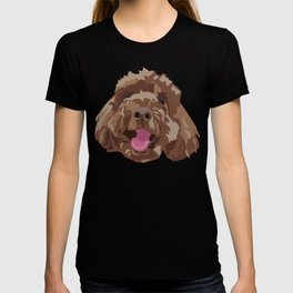 Brown Poodle Happy Dog Face T-shirt