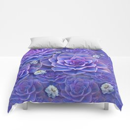 """Bouquet of pastel violet exotic succulents"" Comforters"