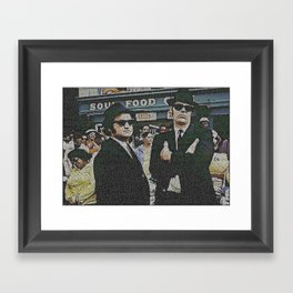 Text Portrait of Blues Brothers with full script of the movie The Blue Brothers Framed Art Print