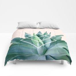Agave geometrics - peach Comforters