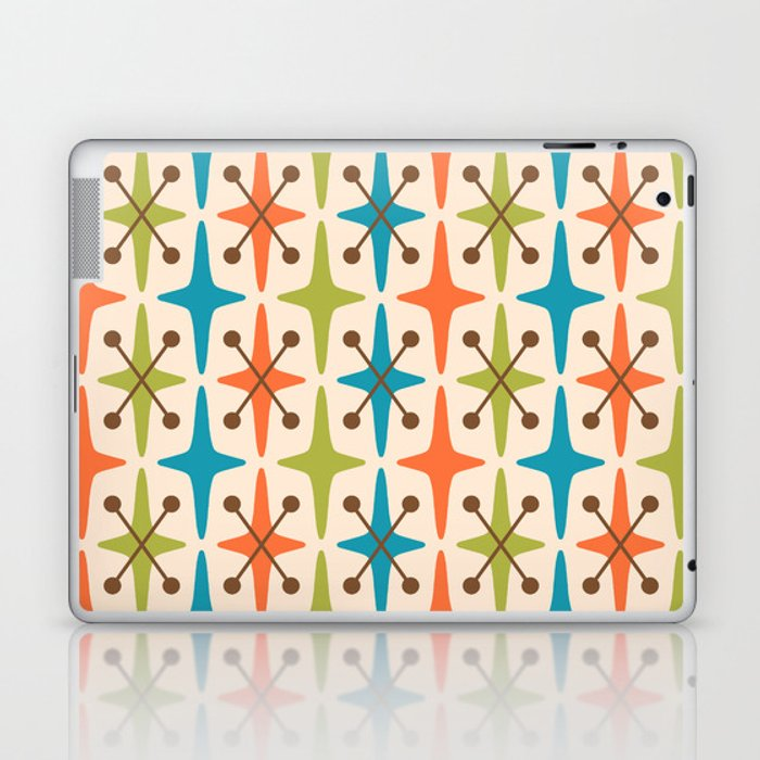 Mid Century Modern Abstract Star Pattern 441 Orange Brown Turquoise Chartreuse Laptop & iPad Skin