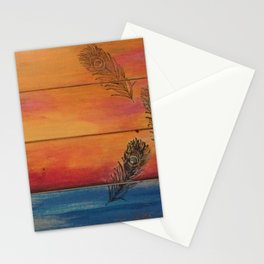 Rising Sun. My Orginal Abstract Painting by Jodilynpaintings. Abstract Sunset With Feathers. Beach Stationery Cards