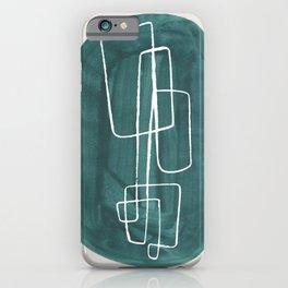 EnShape by Ejaaz Haniff 'Lake Green Maze' Minimalist Mid Century Modern Line Drawing Geometric Organic Color Shapes  iPhone Case