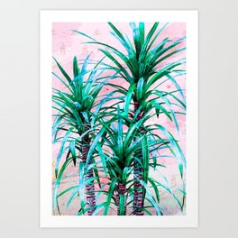 Blue palm trees with triangles Art Print