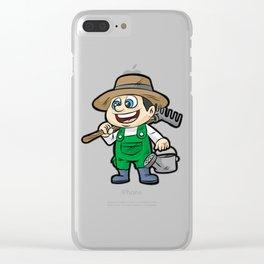 Happy GARDENER WITH TOOLS Gardening Cartoon Gift Clear iPhone Case