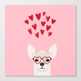 Chihuahua head dog gifts valentines day love hearts chihuahuas chiwawa Canvas Print
