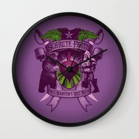 battlestar galactica Wall Clocks featuring Bears, Beets, Battlestar Galactica by Leon Ryan