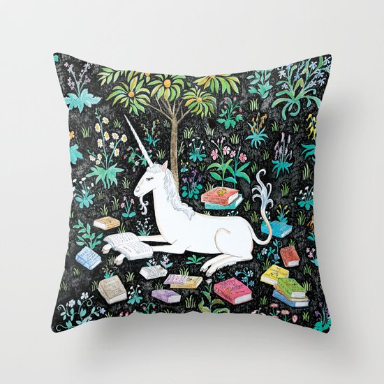 The Unicorn is Reading Throw Pillow