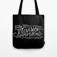boob Tote Bags featuring HAVE AN ADVENTURE WITH TELEVISION by Matthew Taylor Wilson