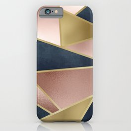 Geometric Art, Rose Gold, Pink and Navy Blue Modern  iPhone Case