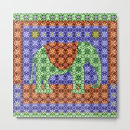 Colorful Tribal Elephant Metal Print