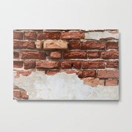 Broken Bricks Wall White and red Metal Print