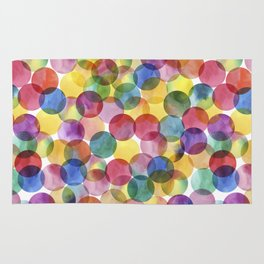 Multi-Color Watercolor Paint Dabs Pattern Rug
