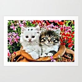 TWO CUDDLY KITTENS Art Print