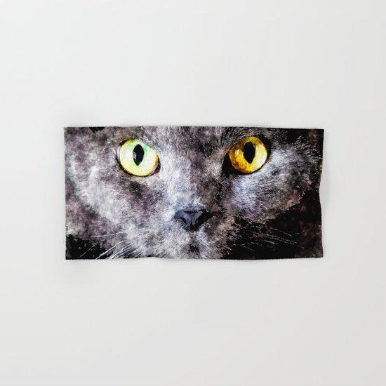 Black cat - Animal Watercolor Illustration Hand & Bath Towel