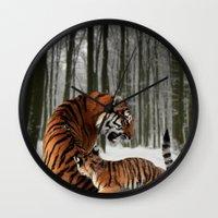 tigers Wall Clocks featuring Tigers by Julie Hoddinott