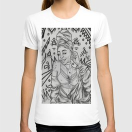 Girlll, AFRiCA! coloring book page/ black&white version T-shirt