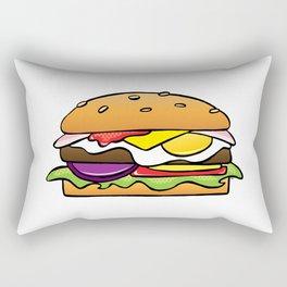 Aussie Burger on White Rectangular Pillow
