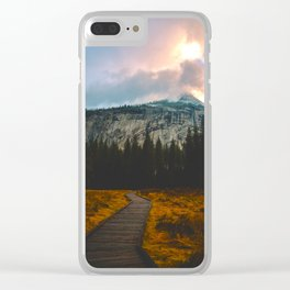 Path leading to Mountain Paradise Mountain Snow Capped Pine trees Tall Grass Sunrise Landscape Clear iPhone Case