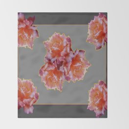 Charcoal Grey Antique Rose flowers Pattern Floral Art Throw Blanket