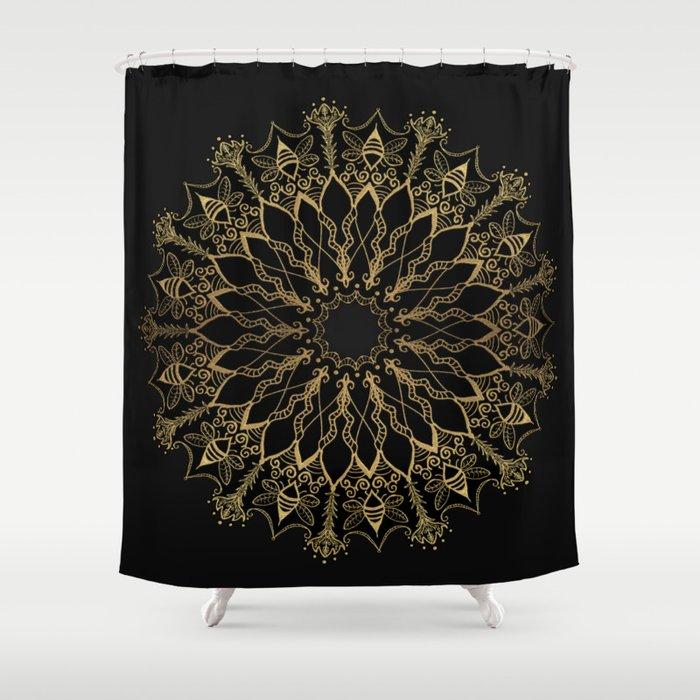 Golden Bee Mandala Shower Curtain