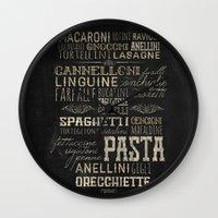 pasta Wall Clocks featuring Pasta Italiana by BaconFactory