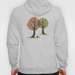 Autumn Is For The Birds Stamped Linocut Hoody