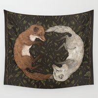 arctic monkeys Wall Tapestries featuring Foxes by Jessica Roux