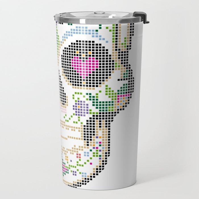 Day of the Dead, Cinco de Mayo, Calavera, Dia de los Muertos - Sugar Skull - Candy Skull Make Up Fac Travel Mug