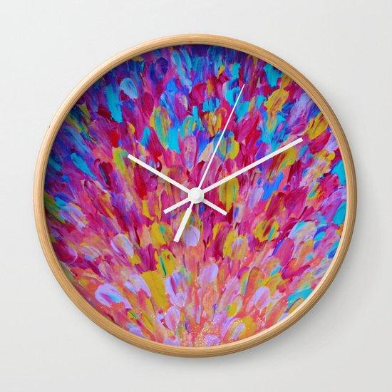 SPLASH, Revisited - Bold Beautiful Feminine Romance Ocean Beach Waves Magenta Plum Turquoise Crimson Wall Clock