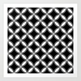 Large Black Geometric Circles Interlocking on White Background Art Print