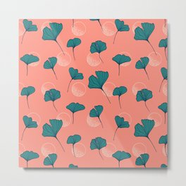 Bright Ginkgo & Dots #society6 #decor #buyart Metal Print