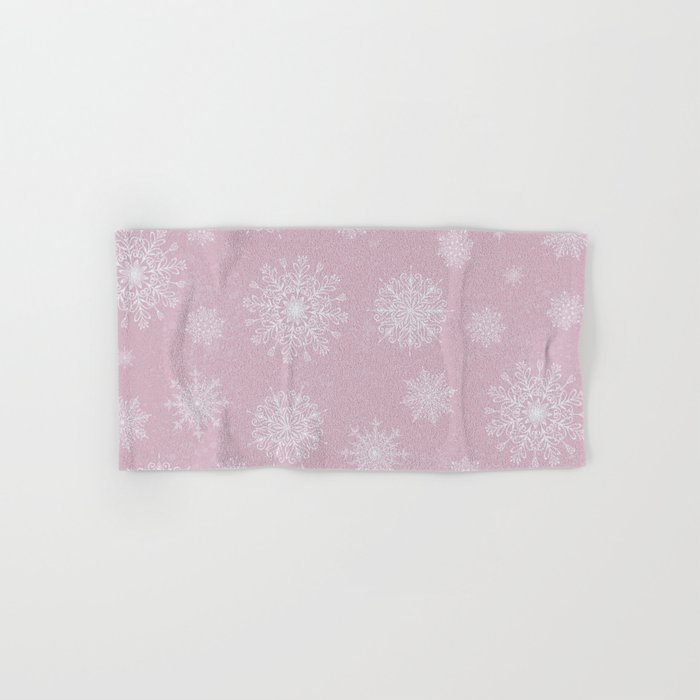 Assorted Snowflakes On Pink Background Hand & Bath Towel