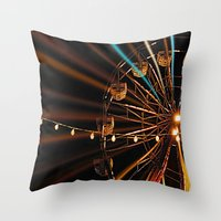 ferris wheel Throw Pillows featuring Ferris Wheel by Renee Trudell