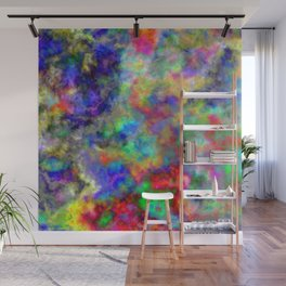 Abstract bright colorful watercolor brushstrokes pattern Wall Mural