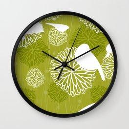 Pom Poms & Birds in Green by Friztin Wall Clock