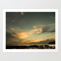 Late Afternoon Sun from Owhiro Bay Wellington Art Print