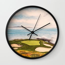 Pebble Beach Golf Course Signature Hole 7 Wall Clock