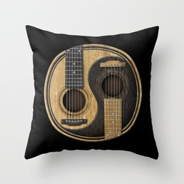 Aged Vintage Acoustic Guitars Yin Yang Throw Pillow