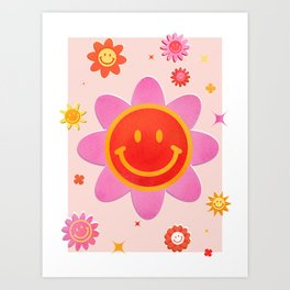 Smiling Flower Faces  Art Print