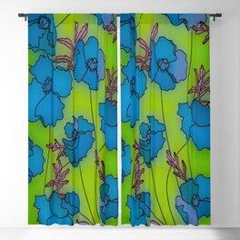 Neon Floral Composition Blackout Curtain