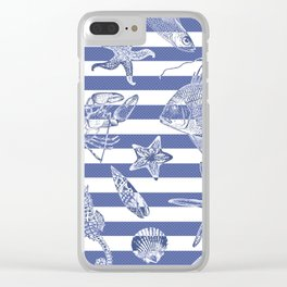 Sea things, blue striped design Clear iPhone Case