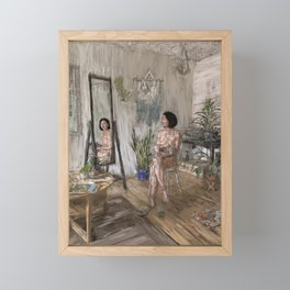 One Girl One Dog One Mirror Framed Mini Art Print