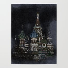 Saint Basil's Cathedral - dark, Moscow, Russia Poster