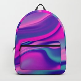 Liquid Bold Vibrant Colorful Abstract Paint in Blue, Pink and Purple Backpack