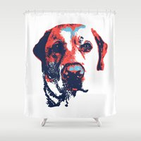 labrador Shower Curtains featuring Patriotic Labrador  by Rachel Barrett