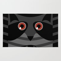 racoon Area & Throw Rugs featuring racoon - raccoon  by ArigigiPixel