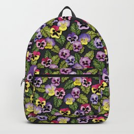 Purple, Red & Yellow Pansies With Green Leaves - Floral/Botanical Pattern Backpack