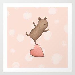 Bear on Heart Art Print