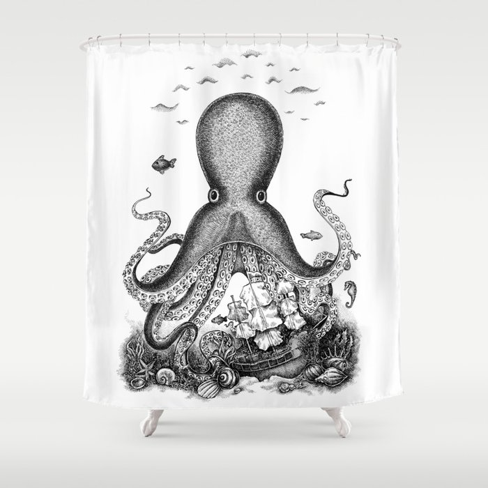 Octopus Shower Curtain by solveigeugenia